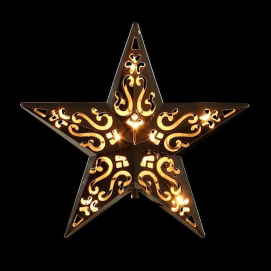 """Hawaiian Christmas Tree Topper: 8"""""""" Lighted Silver Cut-Out Design Decorative Star"""
