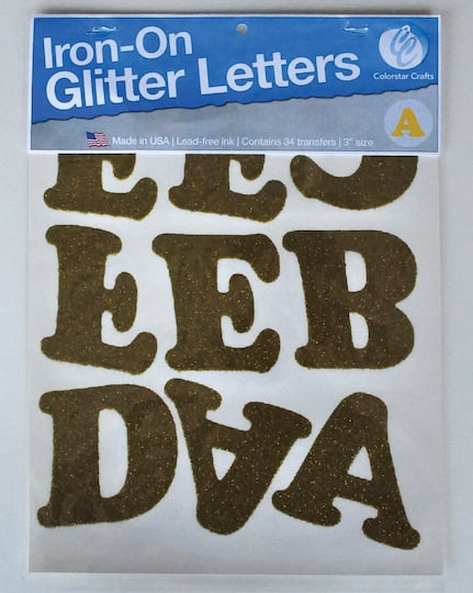 Gold Glitter Iron-On Letters, 3