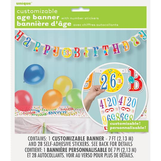 Customizable Age Happy Birthday Banner Birthday Party Decorations