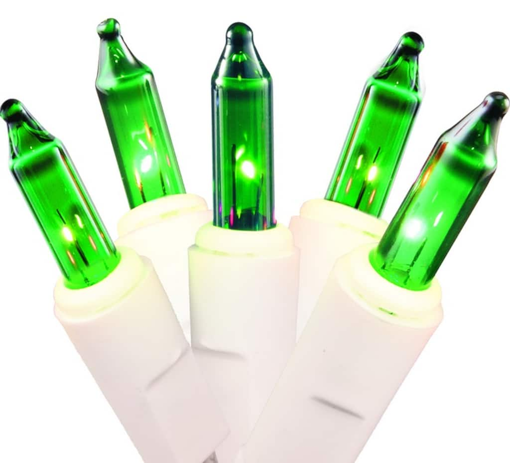 set of 50 green mini christmas lights white wire