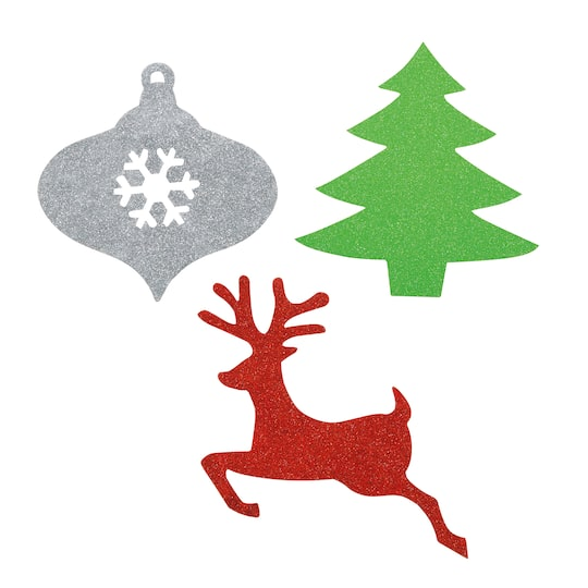 Christmas Tree Cut Out.Mini Glitter Paper Cutout Christmas Decorations Assorted 6ct