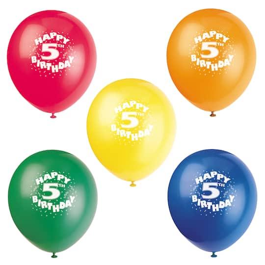12 Latex Happy 5th Birthday Balloons Assorted 8ct
