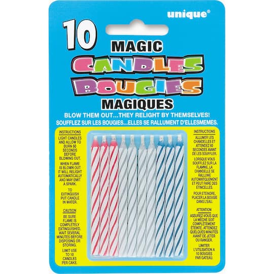 Striped Magic Relighting Trick Birthday Candles Assorted 10ct