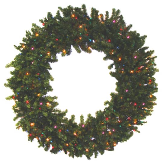 24 pre lit battery operated canadian pine artificial christmas wreath multicolor led lights - Michaels Christmas Wreaths