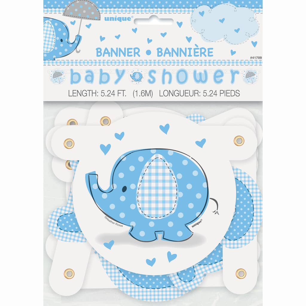 Letter From Baby To Baby Shower Guests: Blue Elephant Baby Shower Letter Banner, 5ft