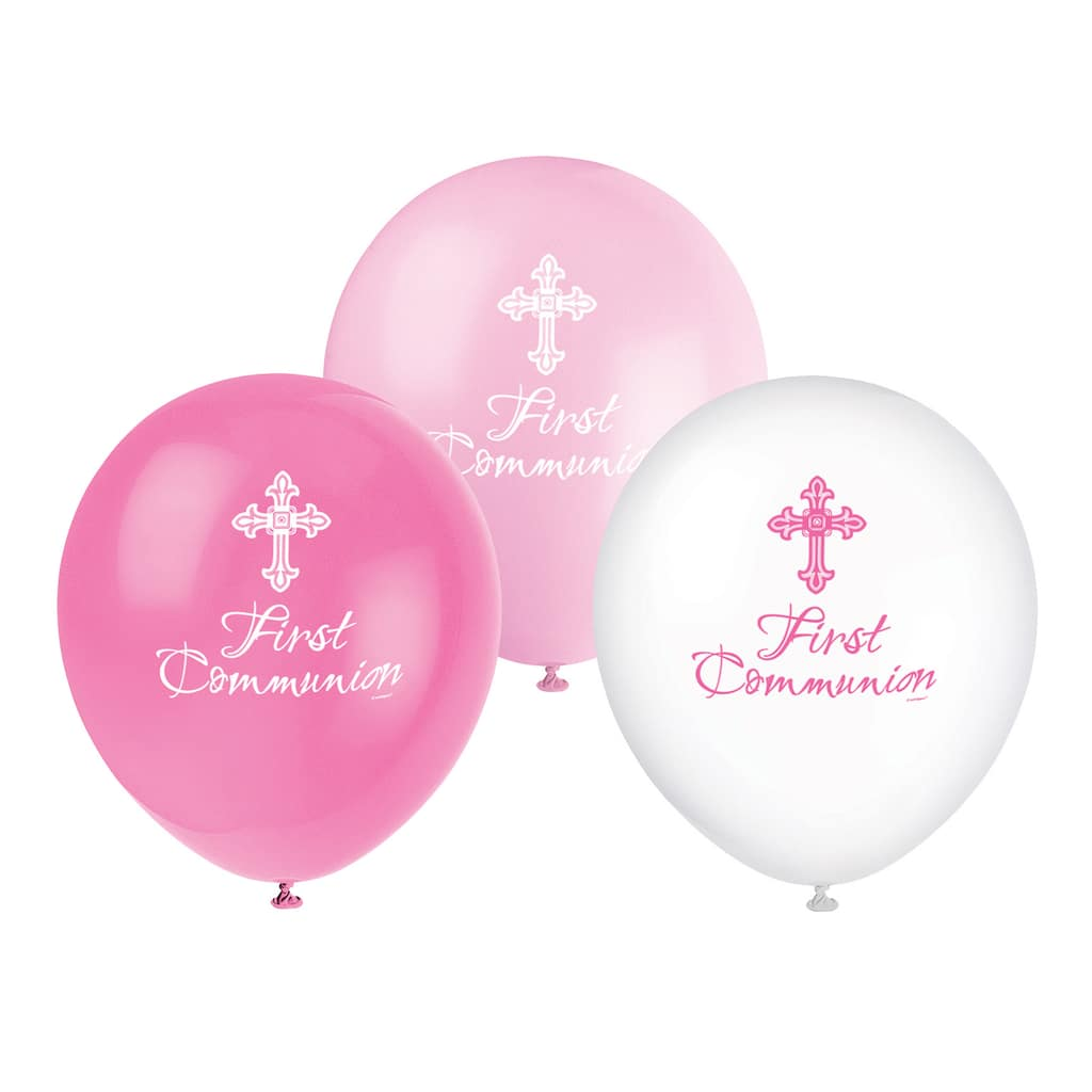 Pink First Holy Communion Assorted Latex Balloons Party Decoration