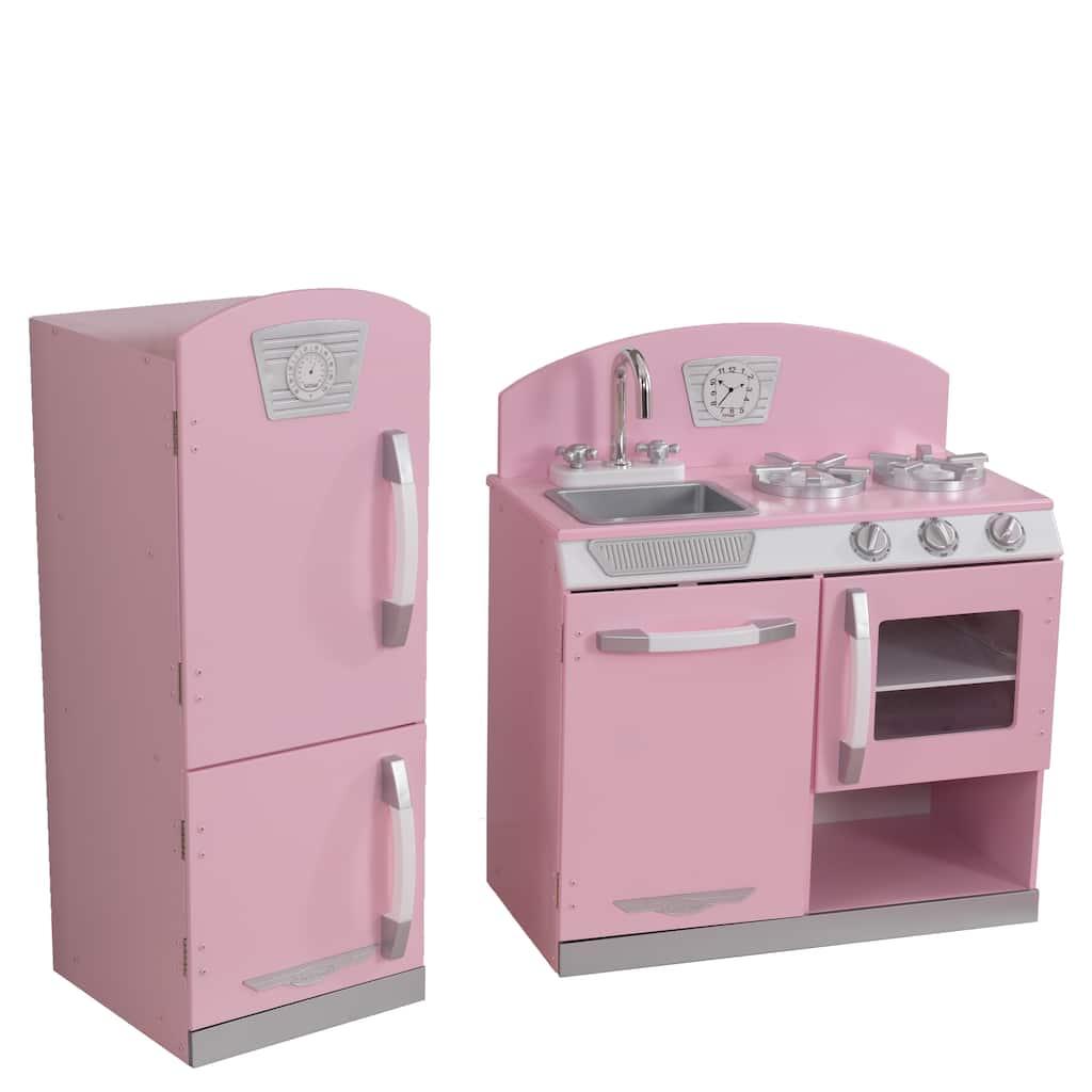 Kidkraft Pink Retro Kitchen Refrigerator