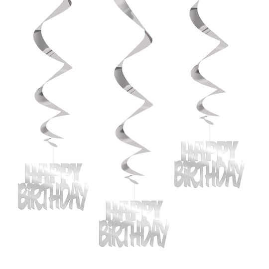 Hanging Foil Silver Happy Birthday Decorations 3ct