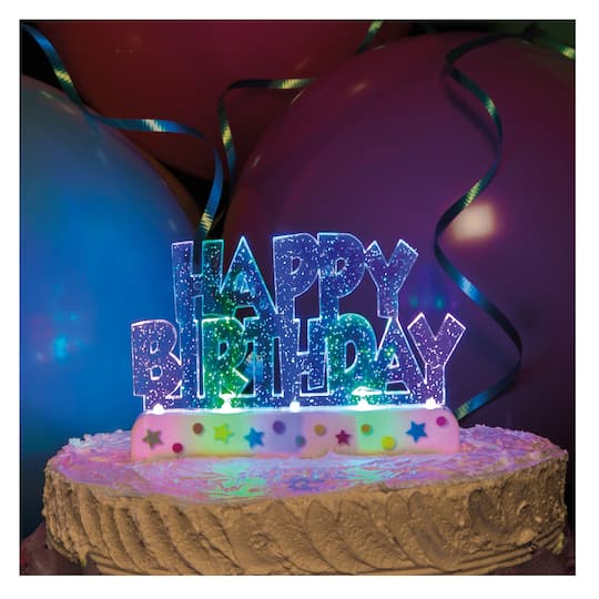 Flashing Happy Birthday Cake Decoration Birthday Party Supplies