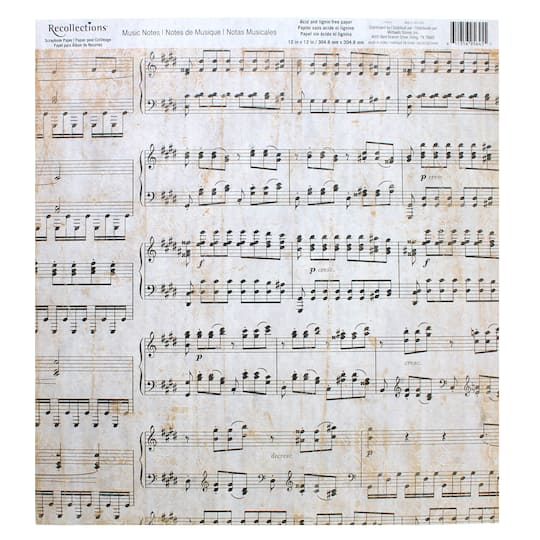 Music Notes Scrapbook Paper By Recollections