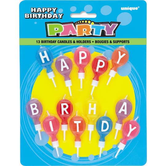 Round Letter Happy Birthday Candles With Holders 13ct
