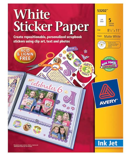 avery white sticker paper 8 5 x 11 inches 5 pack
