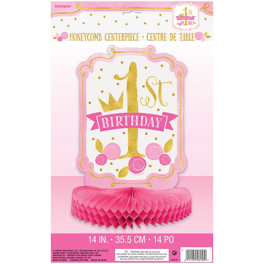 Pink And Gold Girls 1st Birthday Centerpiece Decoration 14 Img