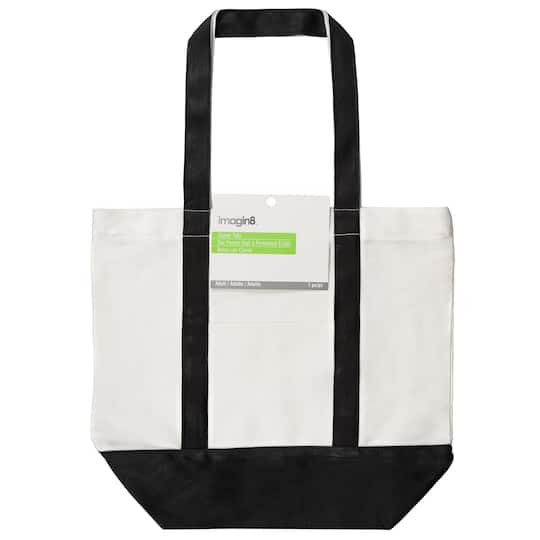 bf96ec7ff Buy the Large White & Black Canvas Tote with Zipper By Imagin8® at ...