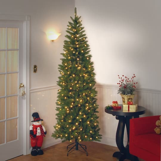 pre lit kingswood fir pencil artificial christmas tree clear lights