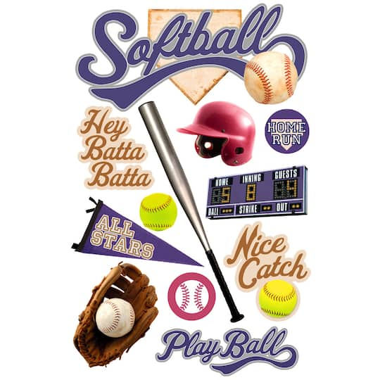 Paper House 3d Stickers Softball