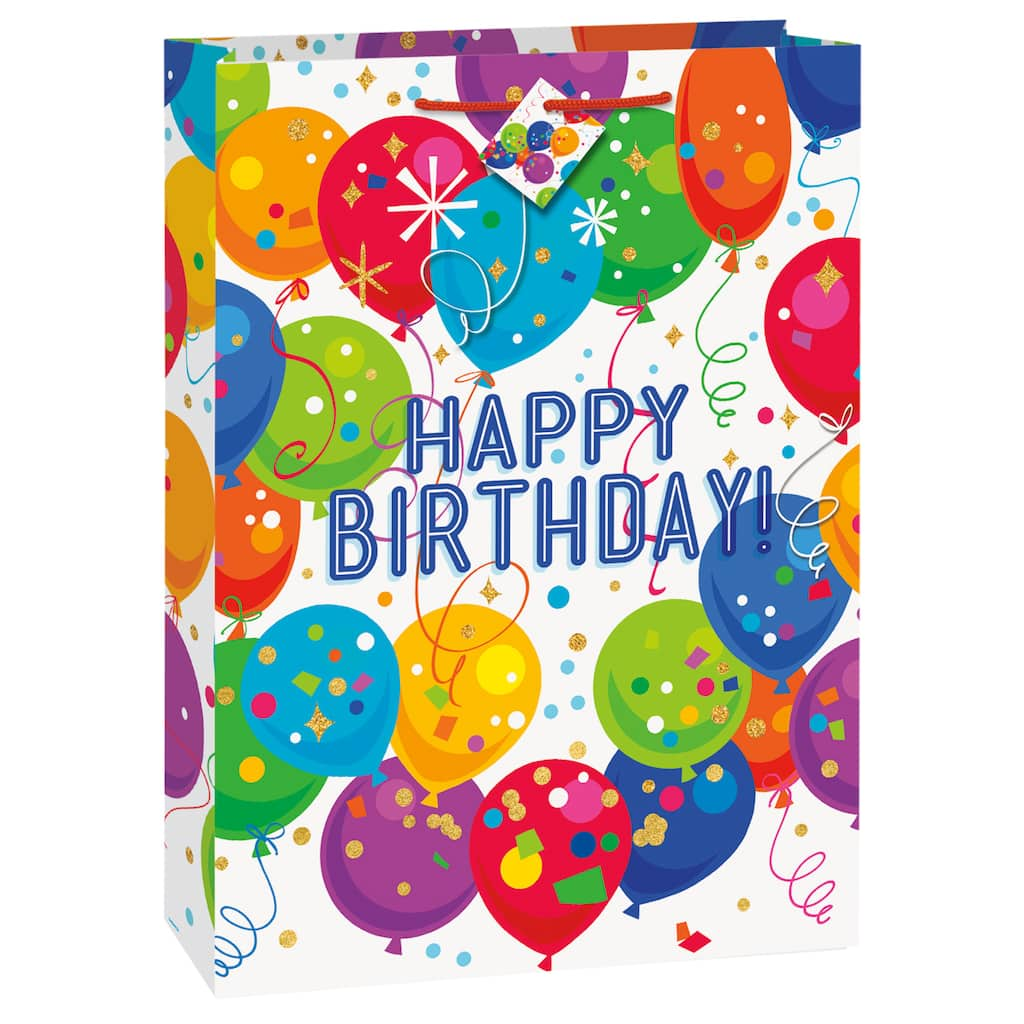 Jumbo Bright Balloons And Dots Birthday Gift Bag Img