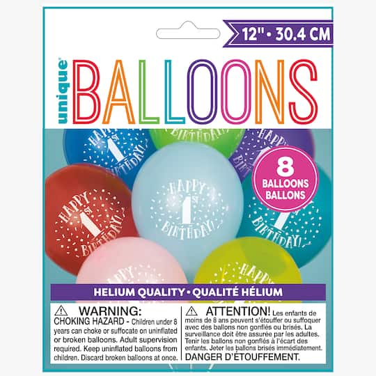 12 Latex Fun Happy 1st Birthday Balloons Assorted 8ct