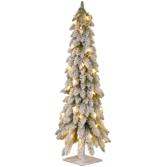 Slim Flocked Christmas Tree With Lights.4 Ft Pre Lit Snowy Downswept Forstree Slim Flocked Artificial Christmas Tree Clear Lights