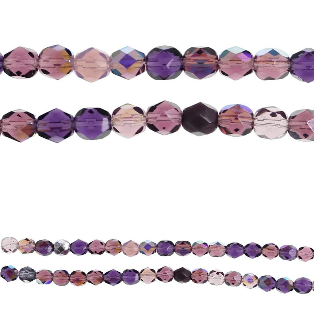 Full Strand Czech Glass Beads Faceted 50 pieces DARK Plum Stone Creek Purple Round 2mm