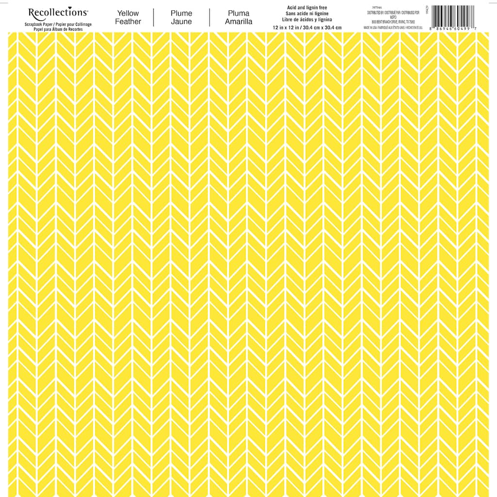 Buy The Yellow Feather Scrapbook Paper By Recollections At Michaels