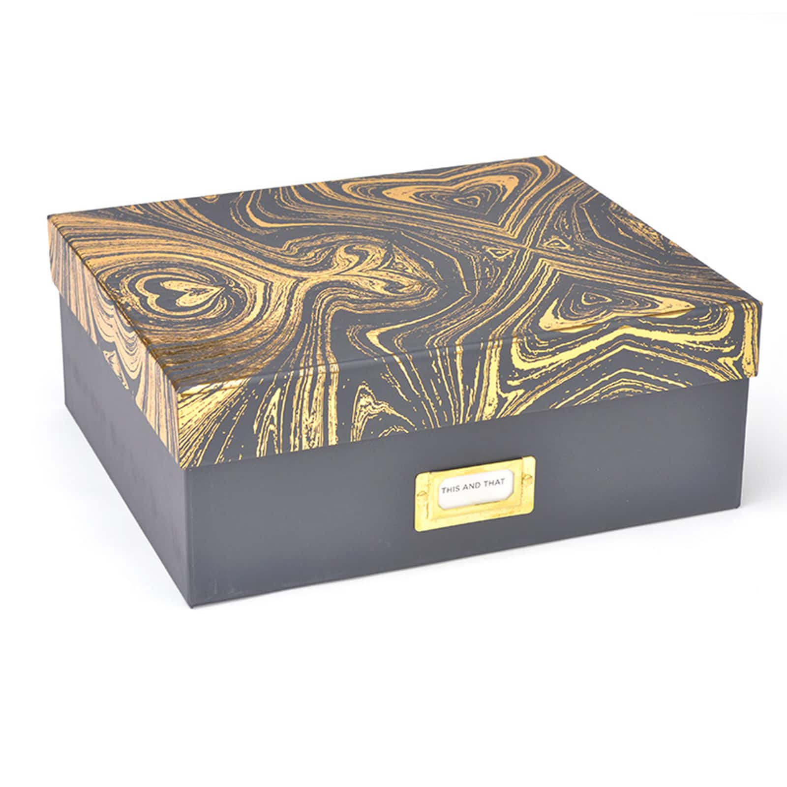 Roobee Small Storage Box, Grey U0026 Gold Marble