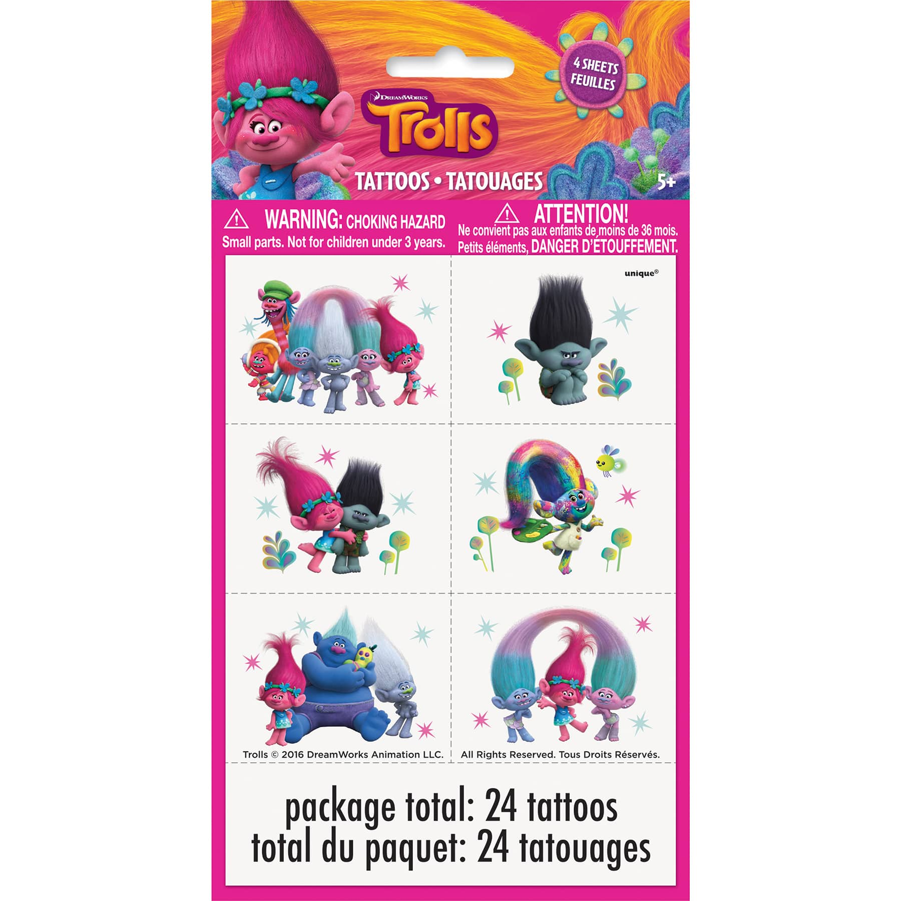 Trolls Temporary Tattoos Birthday Party Pack Loot Bag Fillers