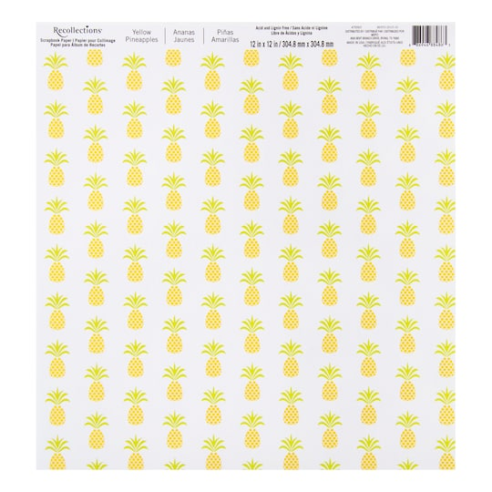 Yellow Pineapples Scrapbook Paper By Recollections