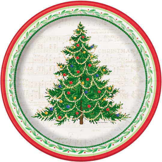 Christmas Paper Plates.10 Classic Christmas Tree Dinner Paper Plates 8ct