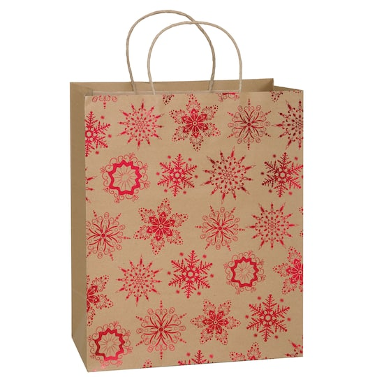 large kraft paper red snowflakes holiday gift bag holiday gift wrap