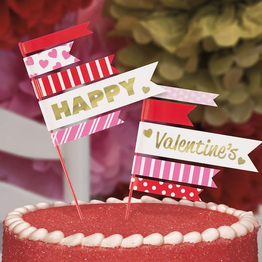Pennant Valentine S Day Cake Toppers Valentine S Day Party Decorations