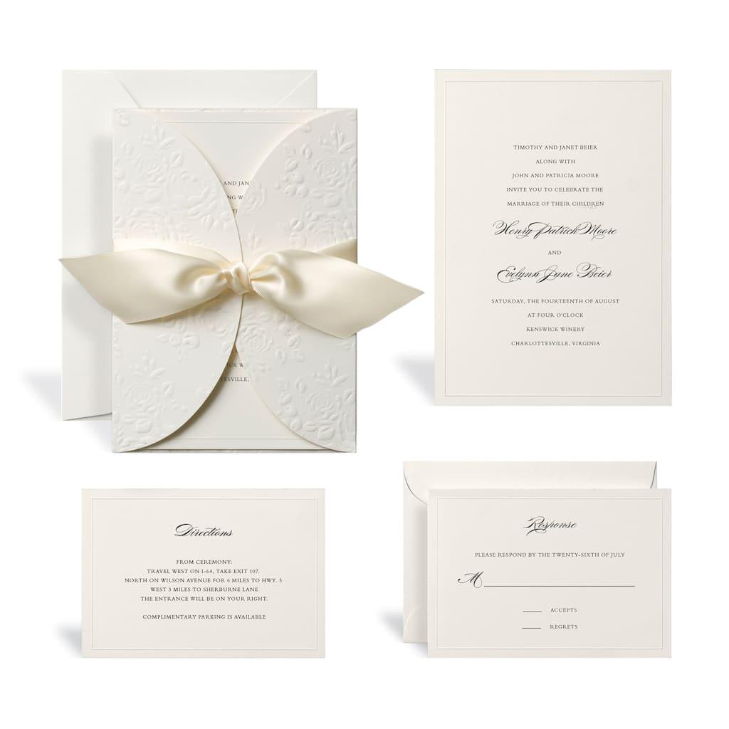 Embossed Ivory Wrap Wedding Invitation Kit By Celebrate It Img