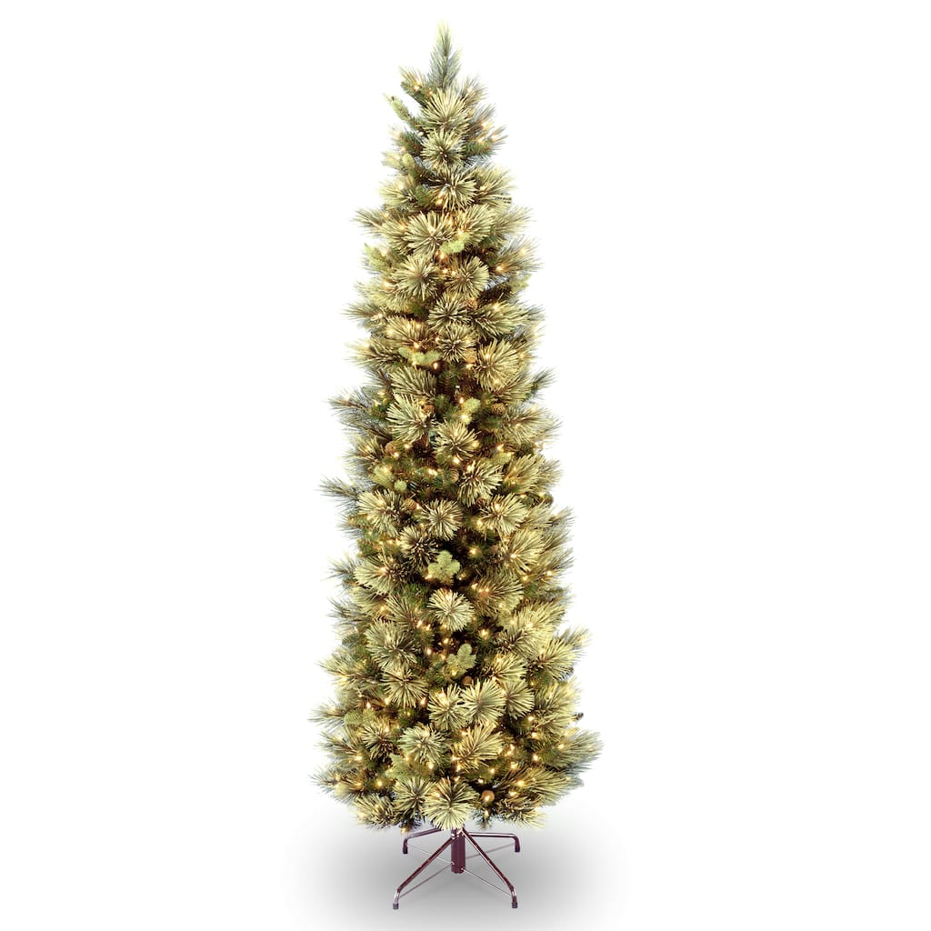 9 ft. Pre-Lit Carolina Pine Slim Artificial Christmas Tree with Flocked Pine Cones, Clear Lights. img