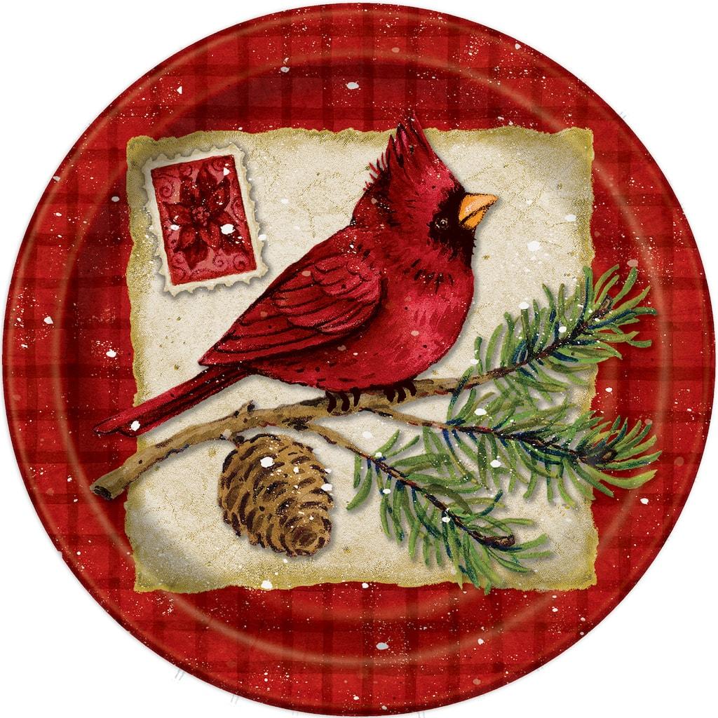 Christmas Paper Plates.7 Cardinal Christmas Party Plates 8ct