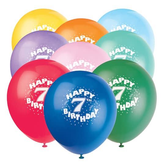Latex Happy 7th Birthday Balloons Assorted 6ct