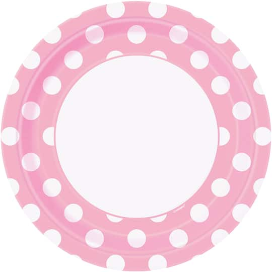 """7/"""" PAPER PLATES DOTS LIGHT PINK 18CM PACK OF 8 BIRTHDAY PARTY SUPPLIES"""