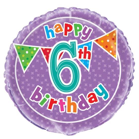 Polka Dot 6th Birthday Balloon