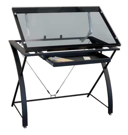 Contemporary Gl Top Drafting Table