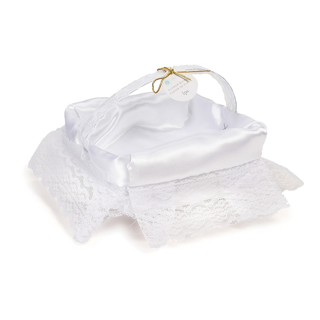 Victoria Lynn Square Satin And Lace Flower Girl Basket