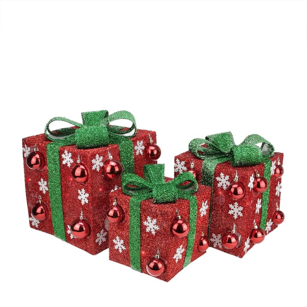Gift Box Christmas Decorations: Set Of 3 Red Tinsel Gift Boxes With Green Bows Lighted