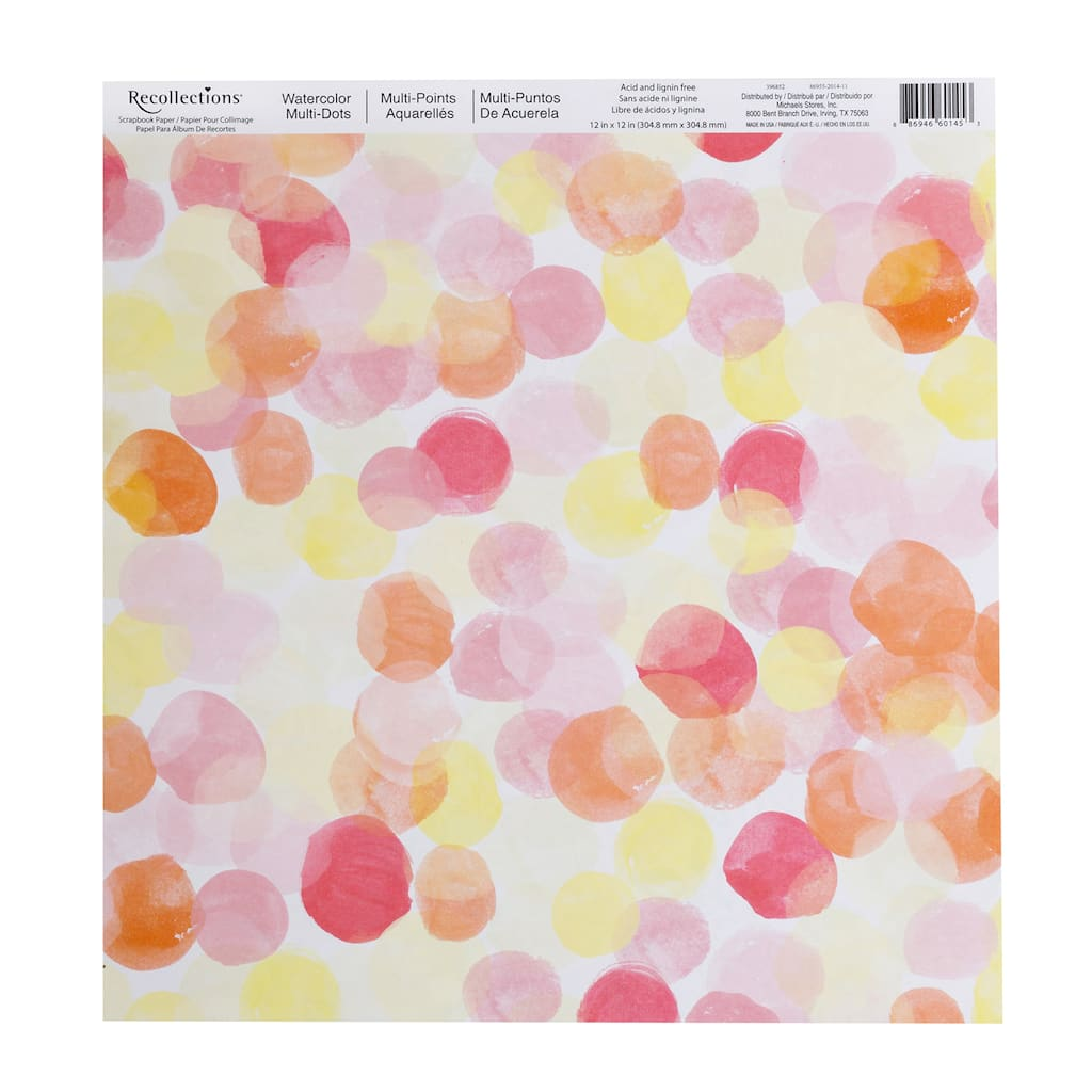 Shop For The Watercolor Multi Dots Scrapbook Paper By Recollections