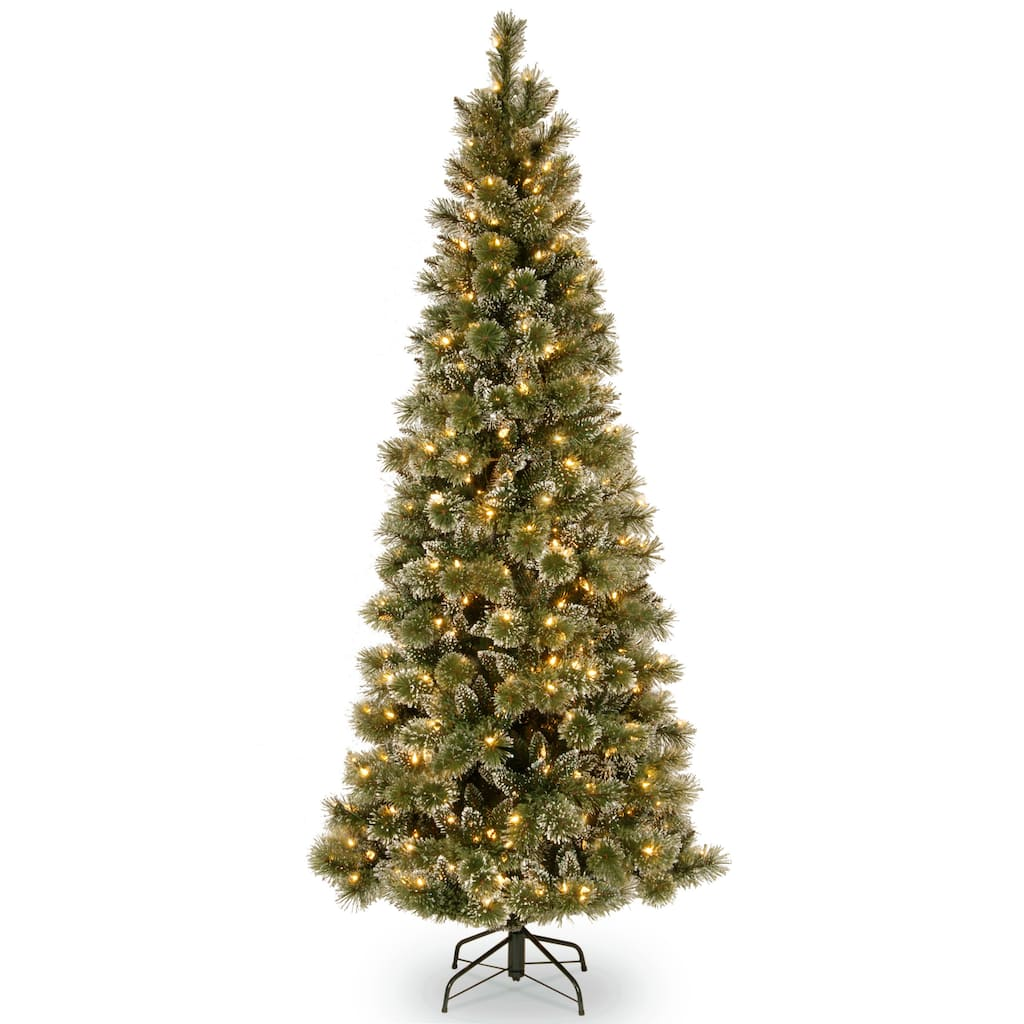 7.5 ft. Pre-lit Hinged Glittery Bristle Pine Slim Artificial ...