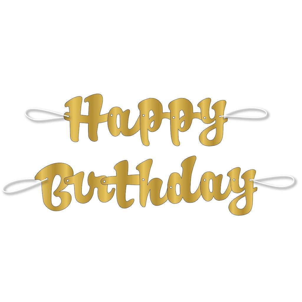 Gold Cursive Happy Birthday Banner Birthday Party