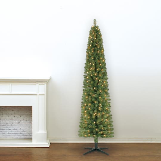 7ft Christmas Tree.7ft Pre Lit Artificial Pencil Christmas Tree Clear Lights By Ashland