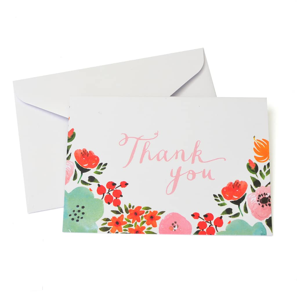 Shop For The Multicolored Floral Thank You Cards Envelopes By
