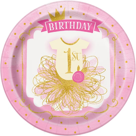 9 Pink And Gold Girls 1st Birthday Party Plates 8ct