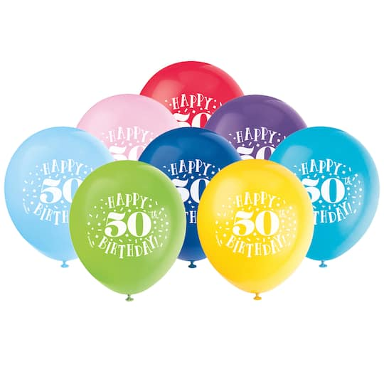 Happy 50th Birthday Balloons Assorted 8ct Img