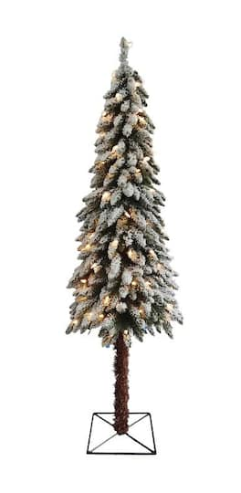 7 Ft Pre Lit Flocked Alpine Artificial Christmas Tree Clear Lights