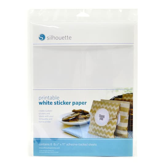 find the silhouette® printable adhesive sticker paper, white at michaels