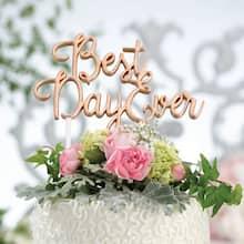 Lillian RoseTM Best Day Ever Wedding Cake Topper Gold